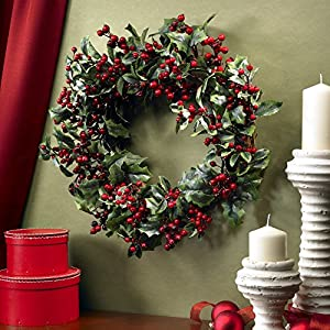 Nearly Natural 24 in. Holly Berry Wreath 16