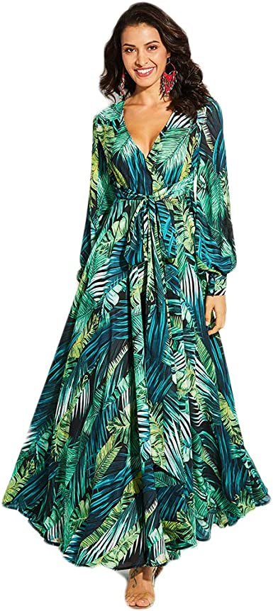 Plus Size Women Floral Boho Maxi Long Dress Bell Sleeve Cocktail Casual Sundress