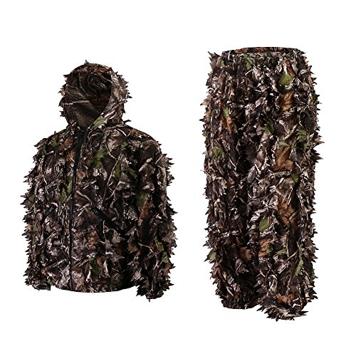 Roslynwood Mens 3D Lightweight Hooded Camouflage Ghillie Breathable Hunting Suit