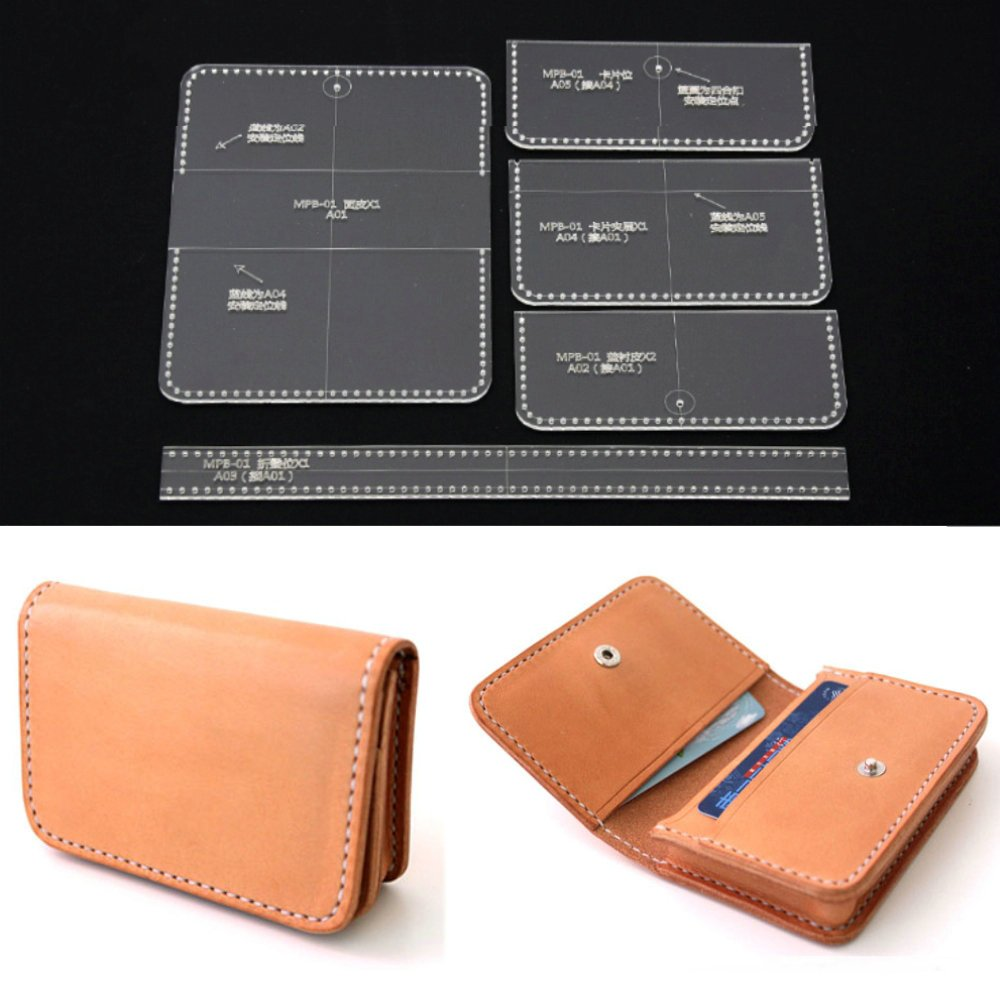 PANINA 5pz acrilico trasparente della borsa portafoglio stencil template DIY Leather Craft