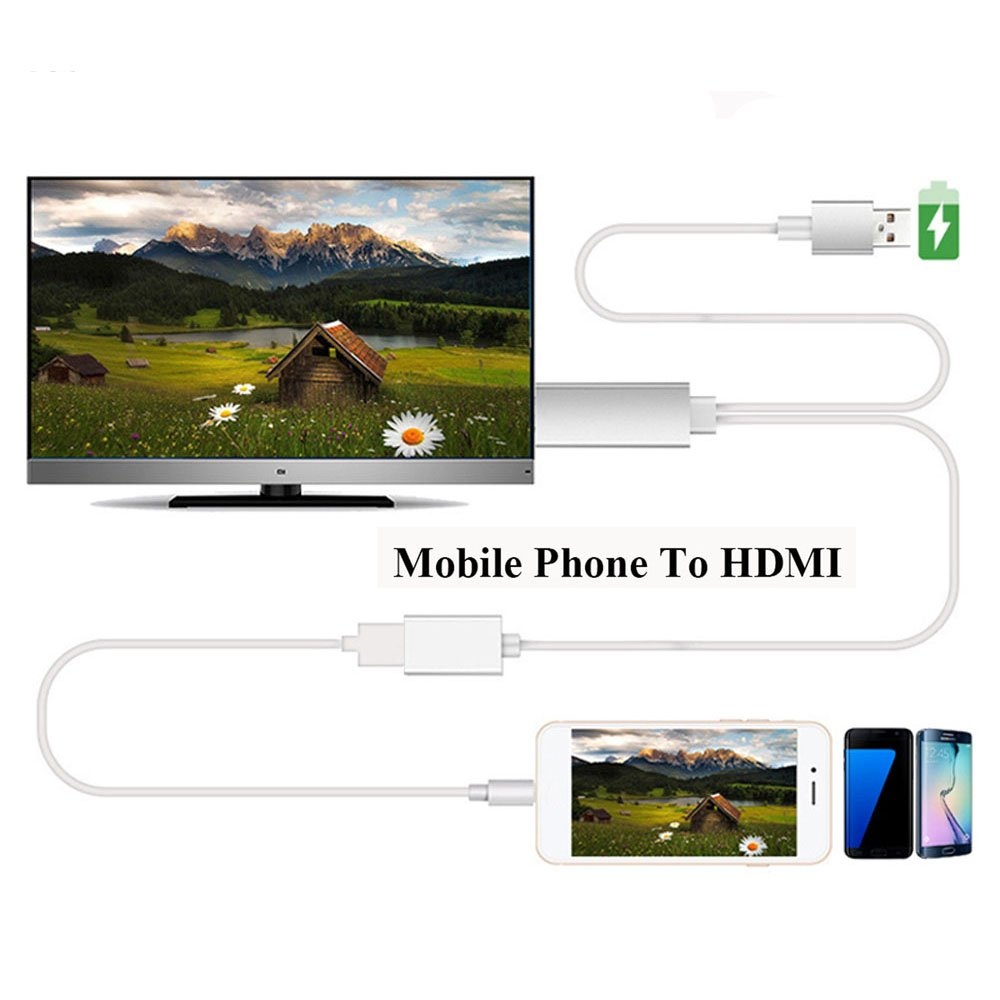 Efanr USB to HDMI Media 1080P HDTV Audio Adapter Cable Universal TV Converter for iPhone 7 7 Plus 6 6S Plus iPad Samsung Galaxy S3 S4 S5 S6 Note 4 5 HTC Andriod Devices (White)