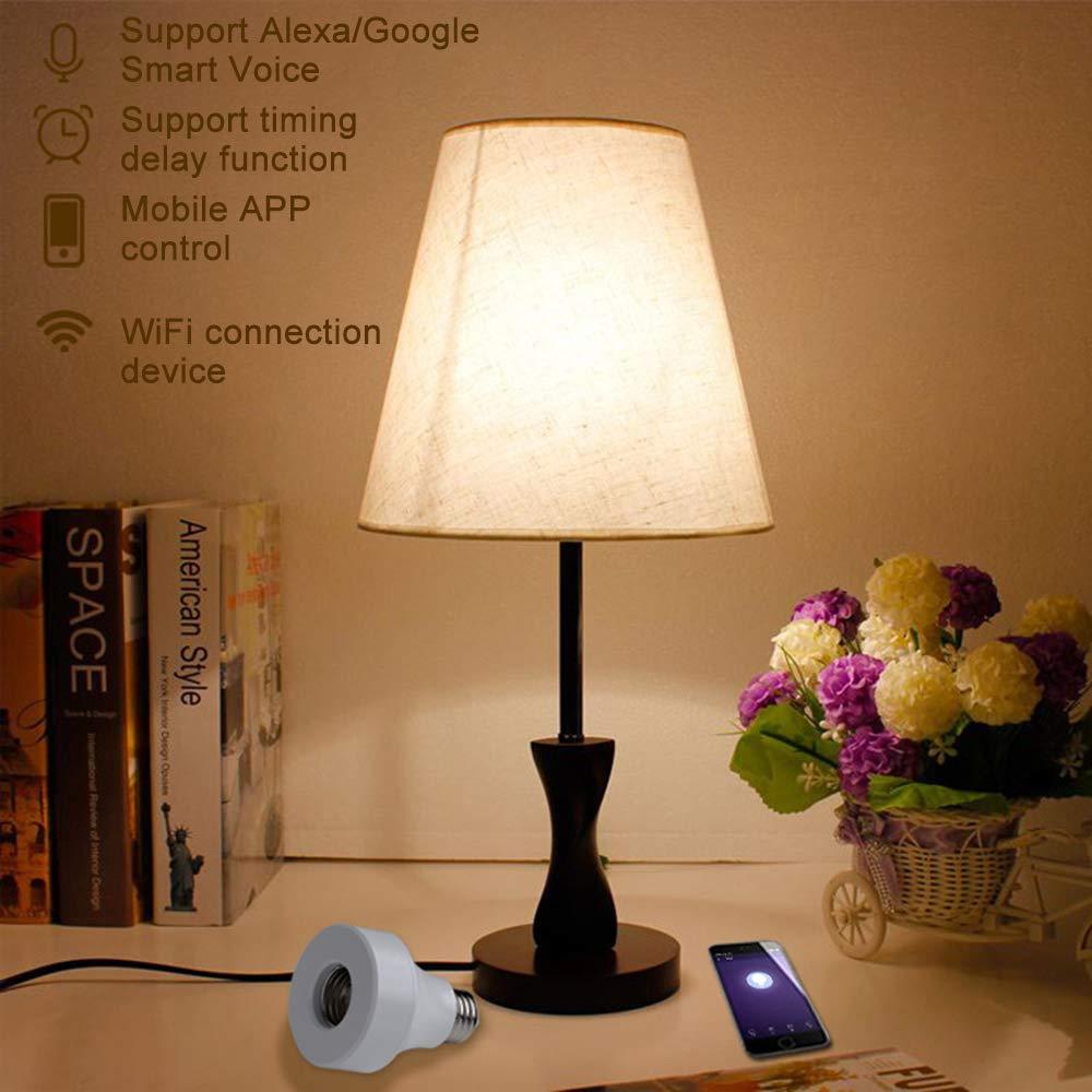 AXIN WiFi Intelligent Adaptateur De Douille,1pc E26//E27 Adaptateur dampoule,Contr/ôle Adaptateur De Douille APP,Prend en Charge Android et iOS
