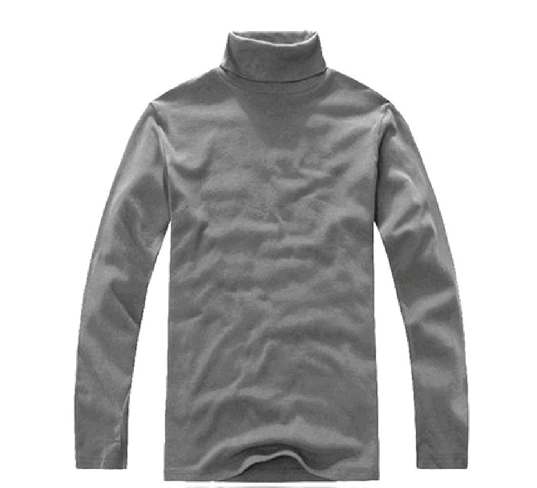 YUNY Mens Turtleneck Stretch Pure Color Oversize Top Tees Polo Light Grey 4XL