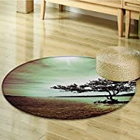 Circle carpet Wall Hanging Lonely Tree Scene for Living Room Bedroom and Dorm Decor Accessories College List One of a Kind Machine Washable Silky Satin in Woodsy Wall Decor Burgun-Diameter 90cm(36)