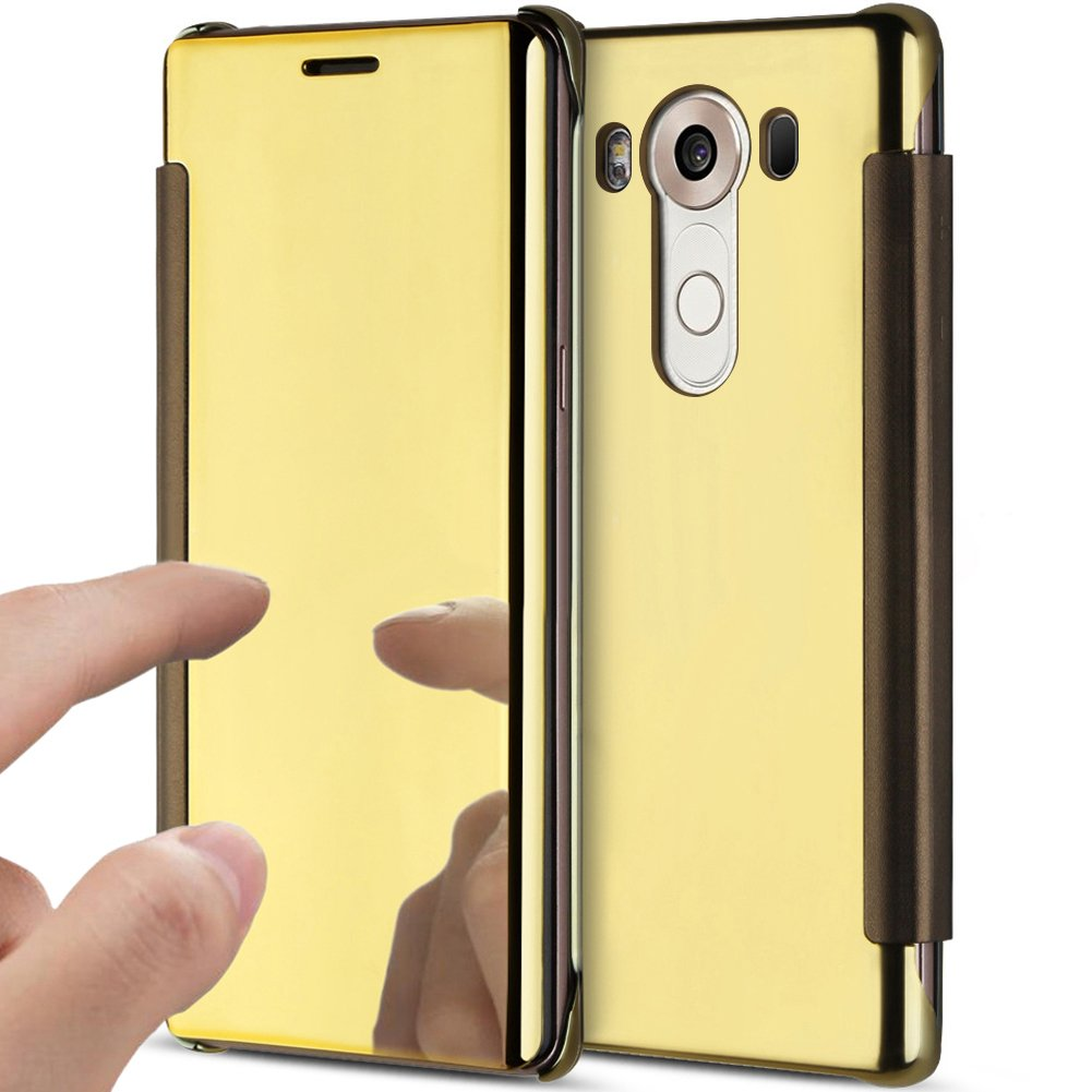 LG V10 Case,LG V10 Cover,ikasus Ultra-Slim Luxury Hybrid Shock-Absorption  Clear View Flip Electroplate Plating Mirror Cover Flip Protective Case  Cover