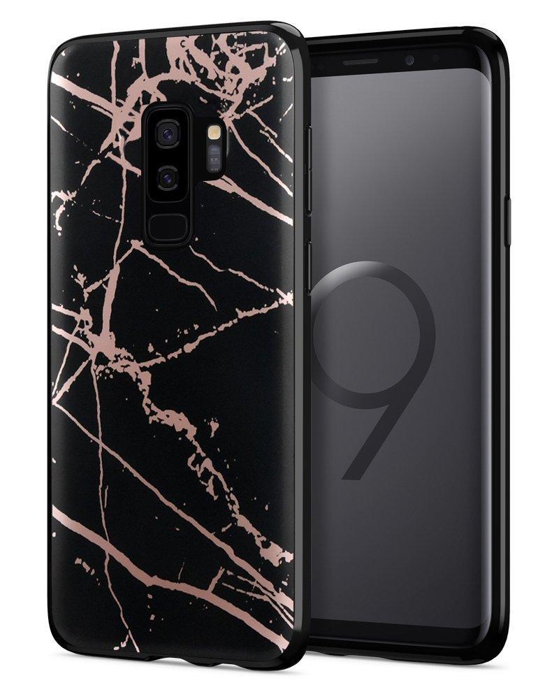 DOUJIAZ Galaxy S9Plus (S9+) Coque, marbre Motif Clair Bumper TPU Coque Souple en Caoutchouc Coque Coque en Silicone pour Samsung Galaxy S9Plus (2018) R-S9 Plus-dls-Rose jin+hei