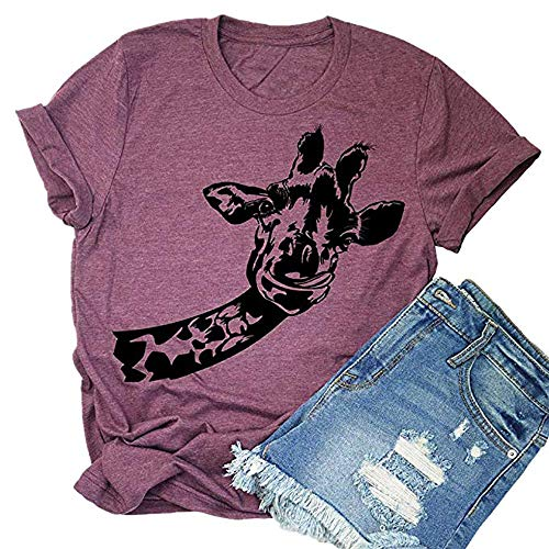 (Fun Giraffe Animal Graphic Shirt Tees for Women Casual Short Sleeve Summer Cute Tshirts Tops (X-Large, Red))