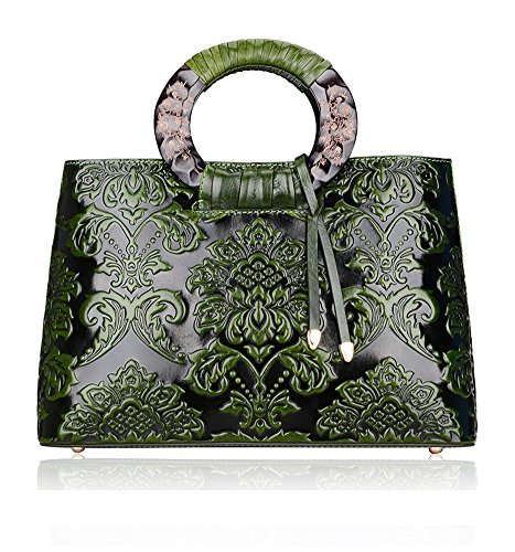 Pijushi YS Style Embossed Cowhide Leather Tote Style Ladies Convertible Top Handle Bag Cross Body Messenger Handbag Green Flower