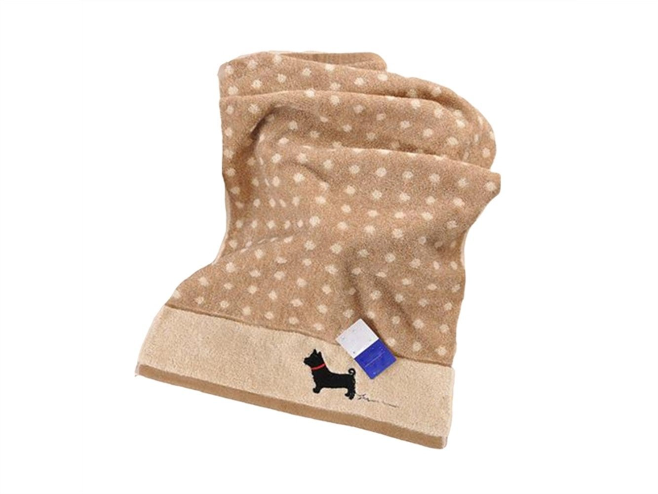 Wesource Activates Cartoon Dog Cotton Kid Wash Face Towel Couple Towel Wiping Hands Square Towel(Khaki)