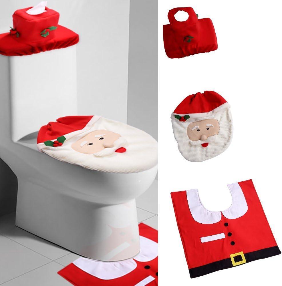 HAIBI Neujahr Weihnachten Badezimmer Matte Deckel Toilette Teppich Set Santa Avatar Print Toilette Sitzbezug