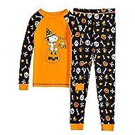 Boys Snoopy Boo Glow-in-The-Dark 2-Piece Pajama Set (4T) Orange