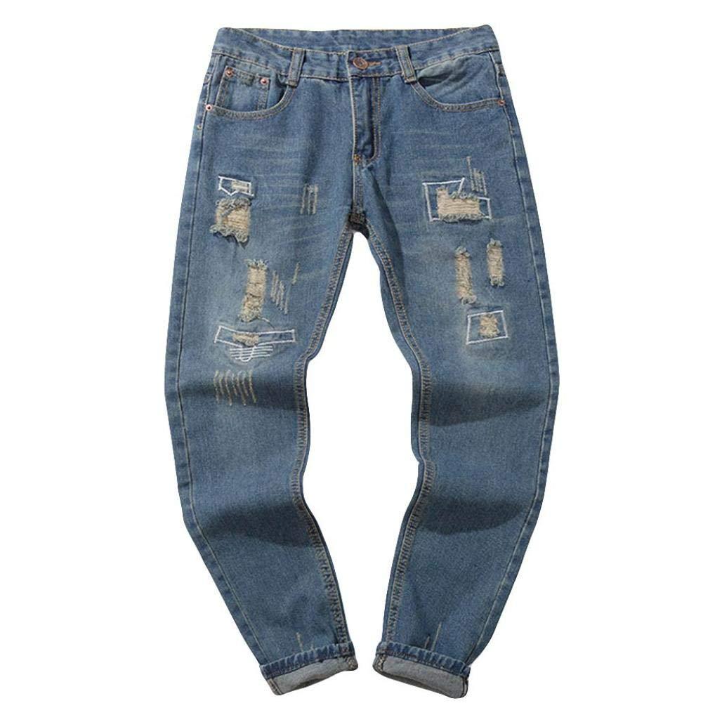Alimao Autumn Pants Mens Casual Autumn Denim Cotton Vintage Trousers Shredded Jeans Pant