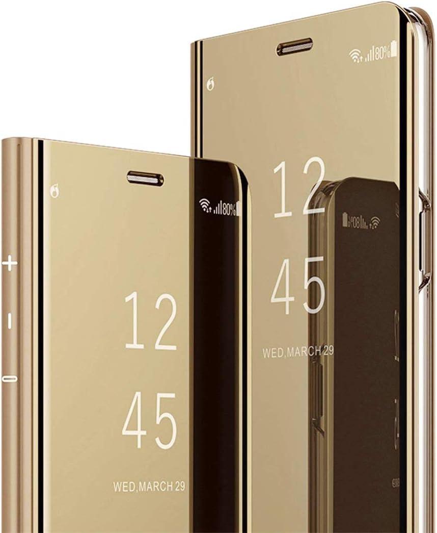 MRSTER Funda Compatible con Xiaomi Mi A2 Carcasa Espejo Mirror Flip Caso Clear View Standing Cover Mirror PC + PU Cover Protectora Cubierta para Xiaomi Mi A2 / Xiaomi Mi 6X