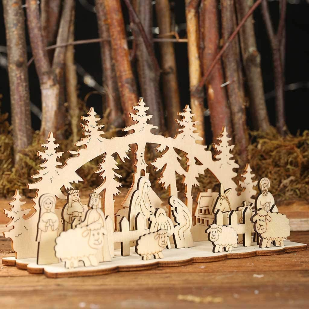AMhomely Christmas Decorations Sale Beautiful New Merry Christmas Wooden Ornaments Decoration For Home Merry Christmas Decorative Xmas Decor Ornaments Party Decor Gifts For Kids Adults