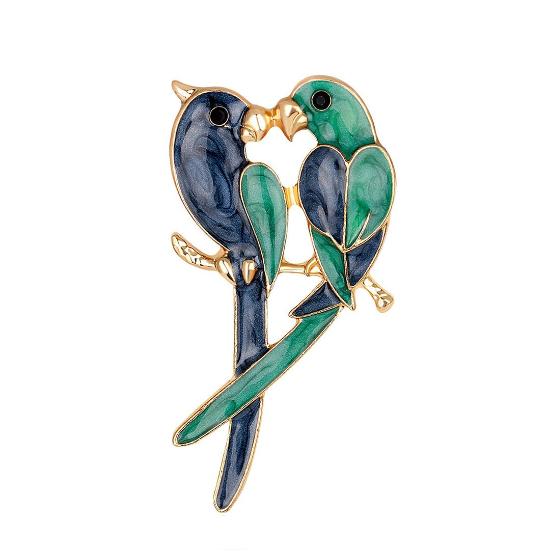 Gabrine Womens Girls Fashion Jewelry Rhinestone Crystal Insect Animal Enamel Love Bird Parrot Brooch Breastpin Sweater Pin Lapel Pin for Wedding Party Prom
