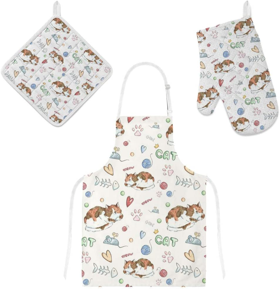 Top Carpenter Polyester Insulation Kitchen Oven Mitts Potholder Apron 3Pcs Set Cute Cats and Fish Bones Mice Non Slip Heat Resistant Gloves for Baking Cooking BBQ