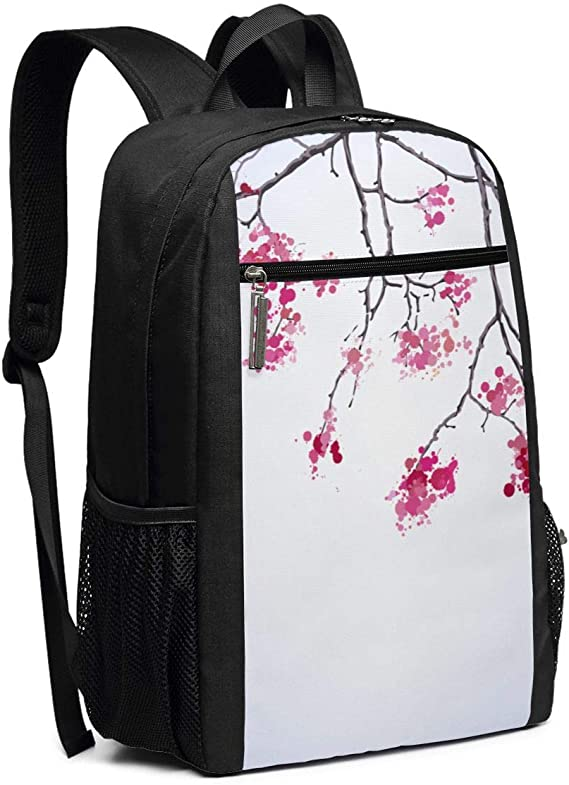 Peacock Cherry Flowering Trees Watercolor Pattern College School Backpack /Casual Daypack Laptop Backpack for Adults and Kids