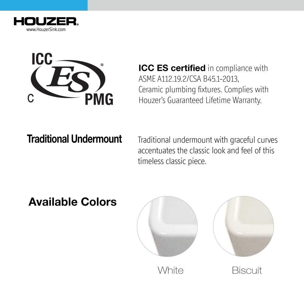 Houzer PTB-1318 WH Fireclay Bar Sink White by HOUZER (Image #6)