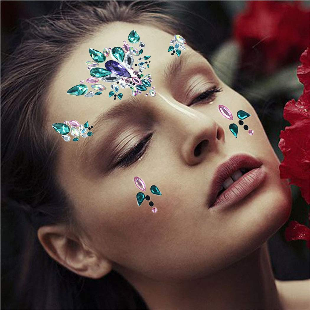 Ludress Crystal Face Stickers Glitter Multicolor Mermaid Body Jewels Gems Face Stickers Decoration Festival for Women and girls