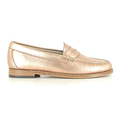 0778875f8c1 G.H. Bass Weejuns Women s Penny Metal Rose Gold Textured Leather ...