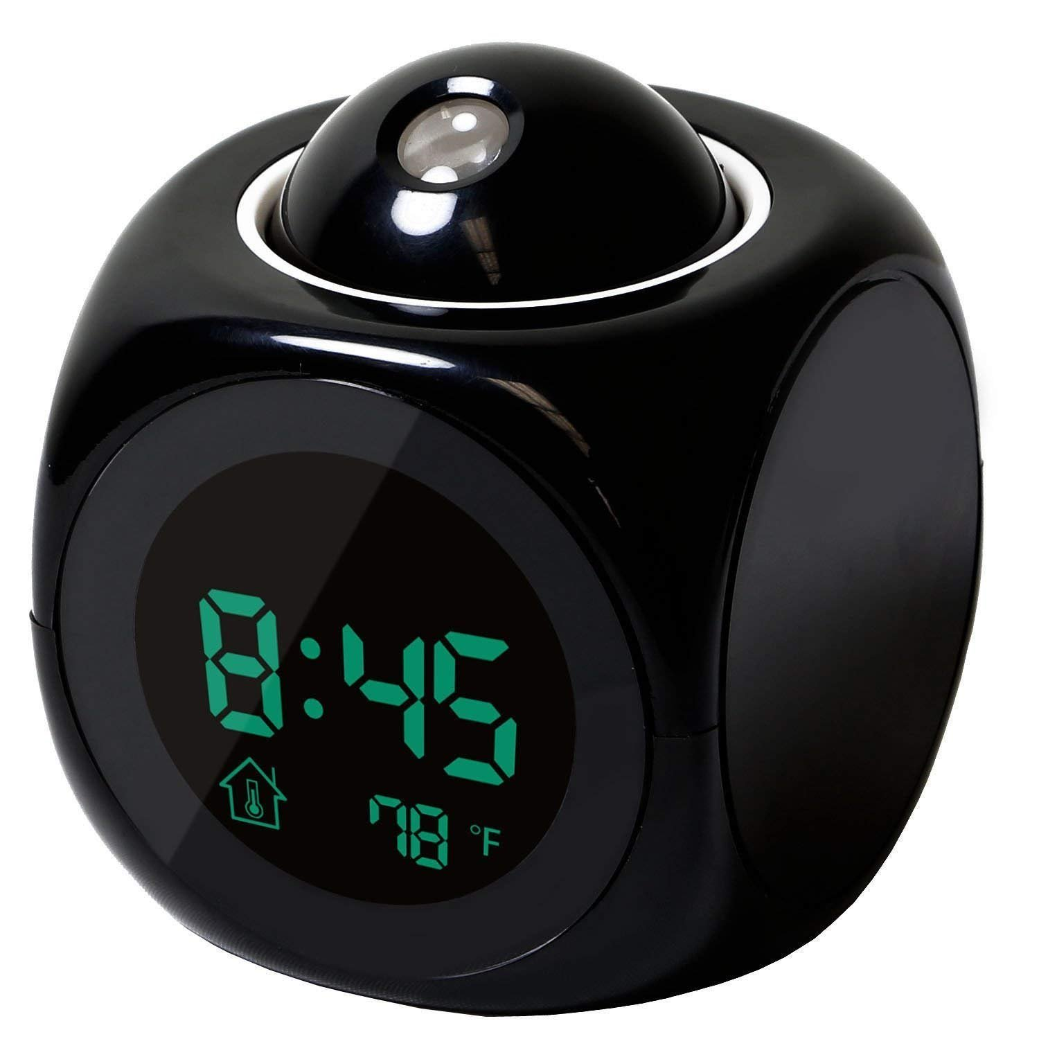 Projection Alarm Clock with Soft LED nightlight ,Snooze,Battery Backup, Auto Time Set,Sleep Timer,Indoor Time/Temperature/Day/Date Display Digital Bedside clock (Black) Jiayinda
