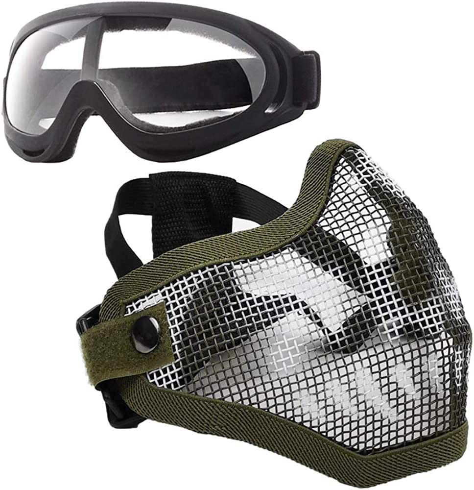 Anyoupin Airsoft Mask and Goggles Set Adjustable Metal Steel Mesh Half Face Mask with Ultra-Violet Protective Outdoor Glasses Goggles for Paintball Shooting Cosplay War Game