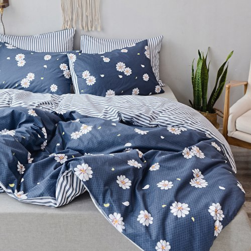 Daisy Duvet Set - Duvet Cover King 100% Cotton Bedding Set Gray-blue Daisy Print Floral Duvet Cover Reversible Stripe Design Ultra Comfy Zipper Closure with Corners Ties