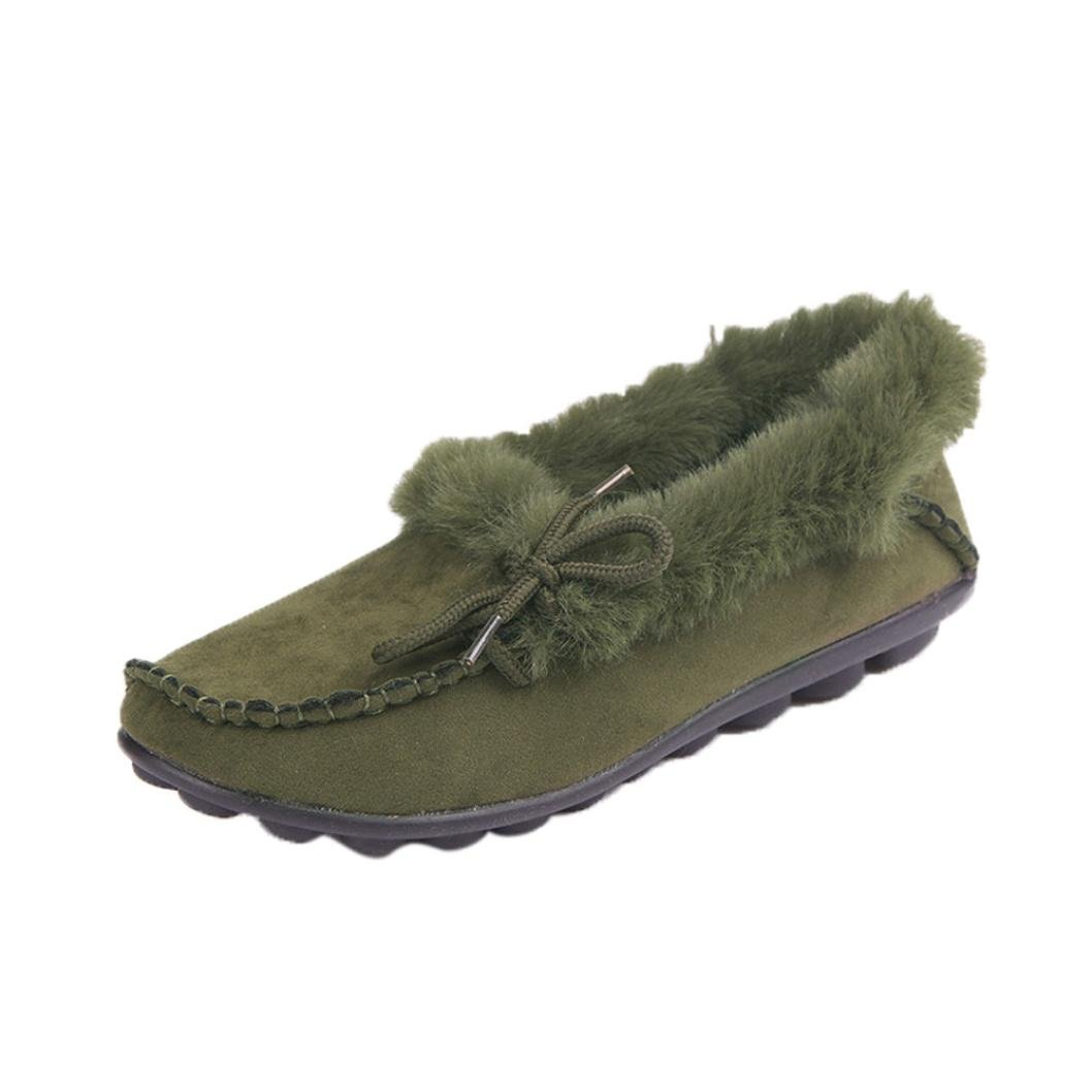 Elevin(TM) 2017Women Fashion Faux Fur Lined Suede Comfort House Slippers,Anti-Slip Winter Indoor/Outdoor Moccasin Shoes (6US, Green)