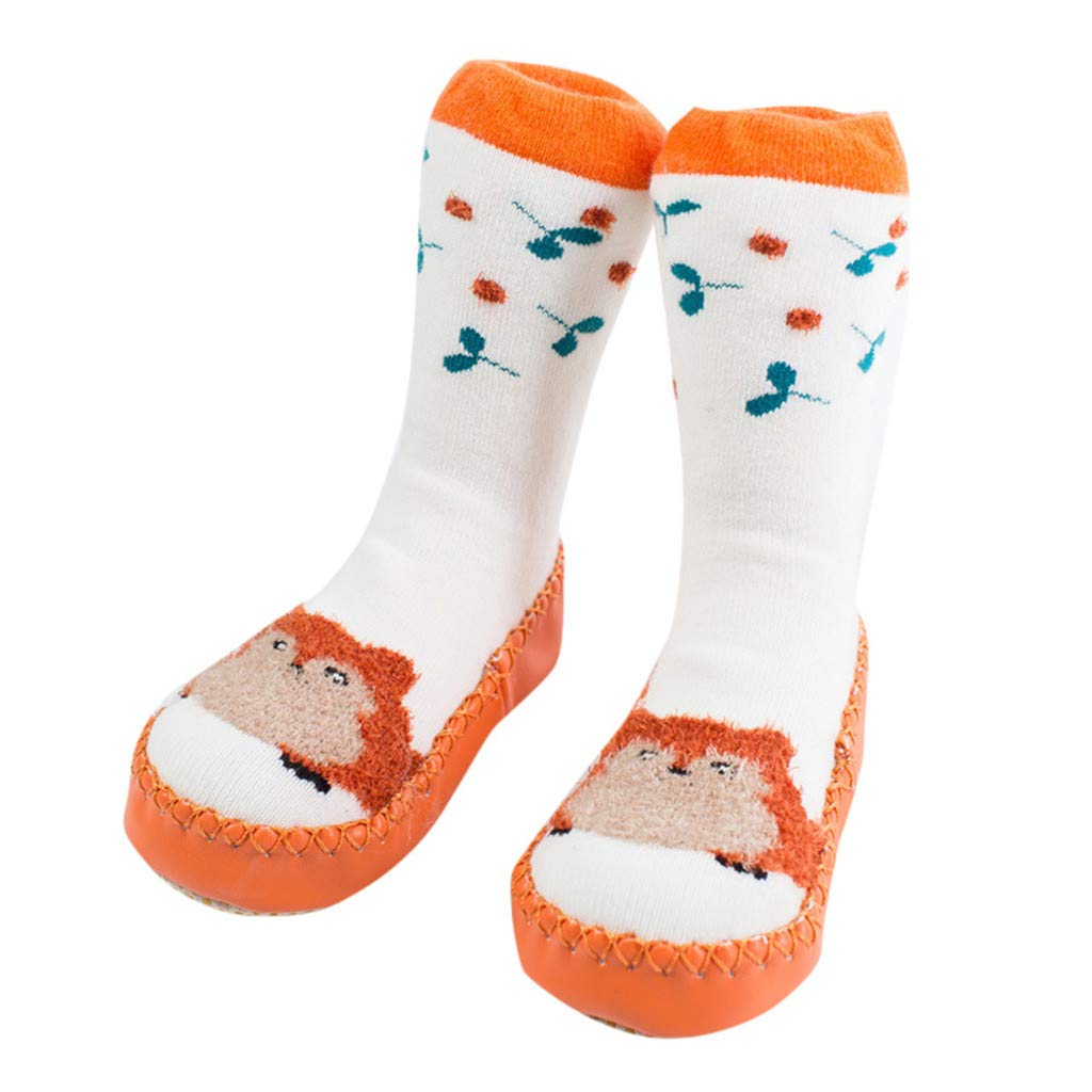 NUWFOR Newborn Baby Boy Girl Cartoon Xmas Floor Socks Anti-Slip Warm Baby Step Socks(Orange,6-9Months
