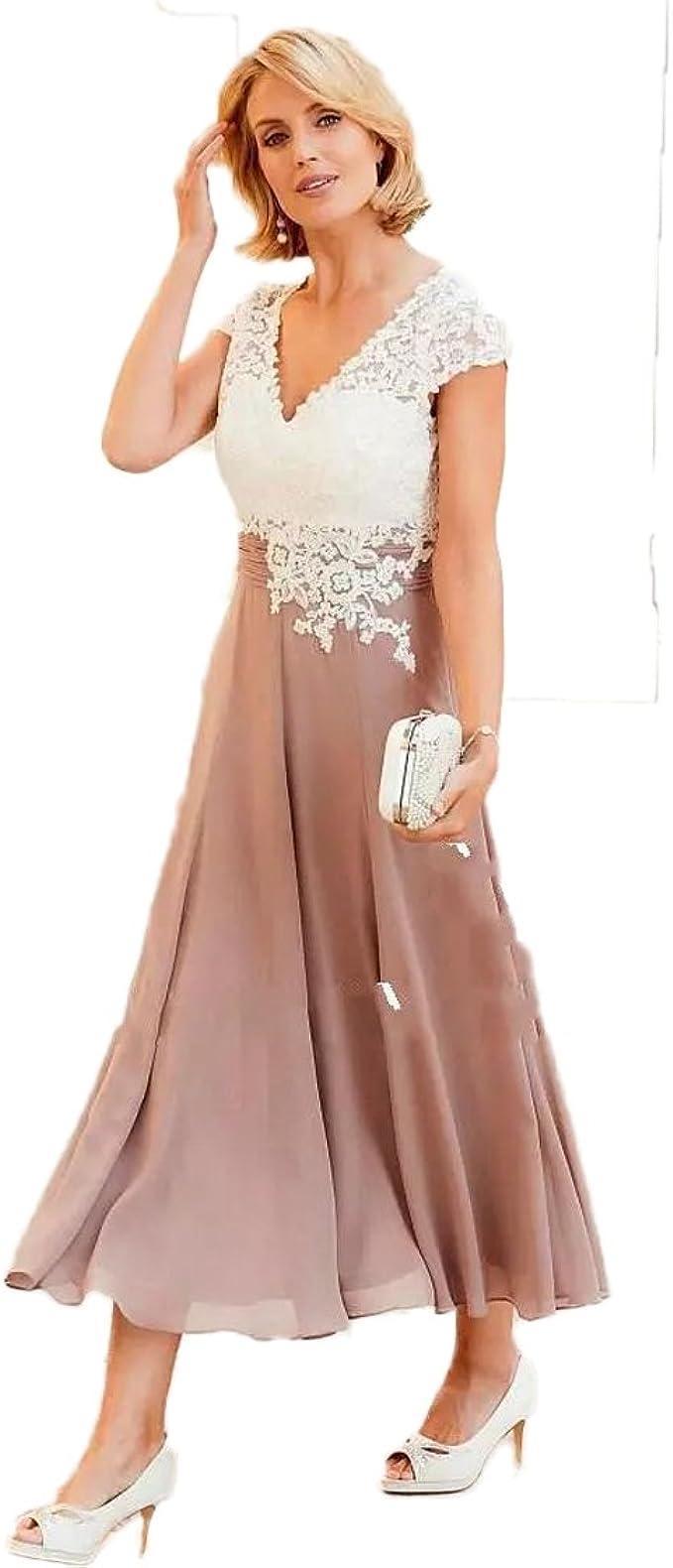 Madedress Mutter der Braut Kleider V-Ausschnitt Kappenhülsen Applikationen  Spitze Chiffon Falten Teelänge Abendkleid Frau Formal Party Kleid