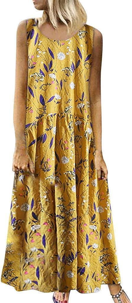 Steagoner Women Floral Print Sleeveless Boho Flowy Long Loose Beach Cami Maxi Dresses Summer Casual Sundress
