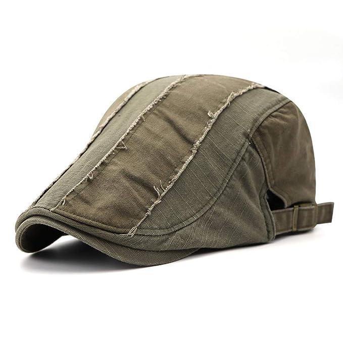 Aodrusa Mens Cotton Distressed Cap Cabbie Hat Gatsby Ivy Cap Hunting Hat  Newsboy Irish Flat Army b7d1a9d9a22