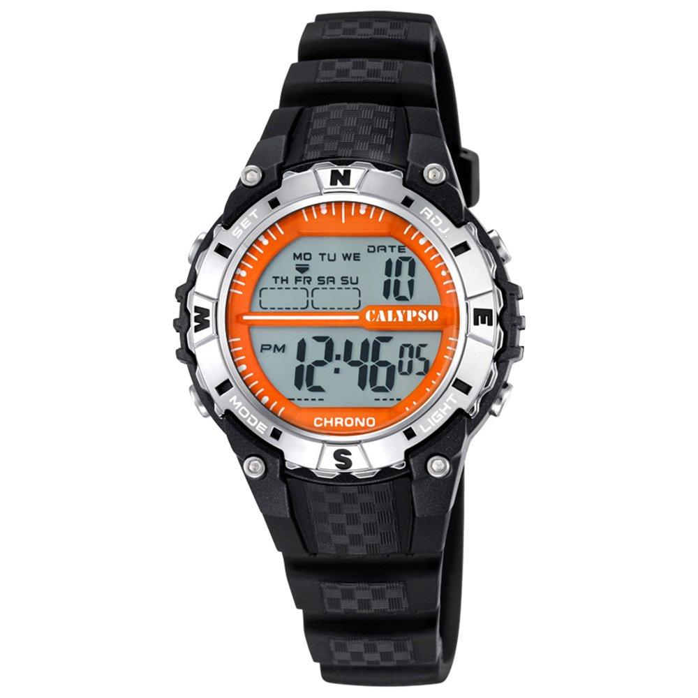 Calypso mujeres caballeros-reloj deportes digital PU-pulsera negro cuarzo-uhr Ziffernblatt Naranja UK5684/3