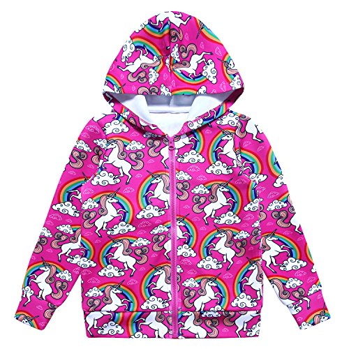 Jxstar Winter Jacket Coats Kids Girls Winter Jacket Zip Hoodie Girls Unicorn 130