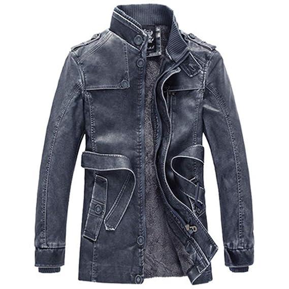 Geili Jacke Herren Lange Ärmel Reißverschluss Lederjacke Bikerjacke Mit Stehkragen Wärme Gefüttert Mantel Männer Große Größen Modern Business Freizeit