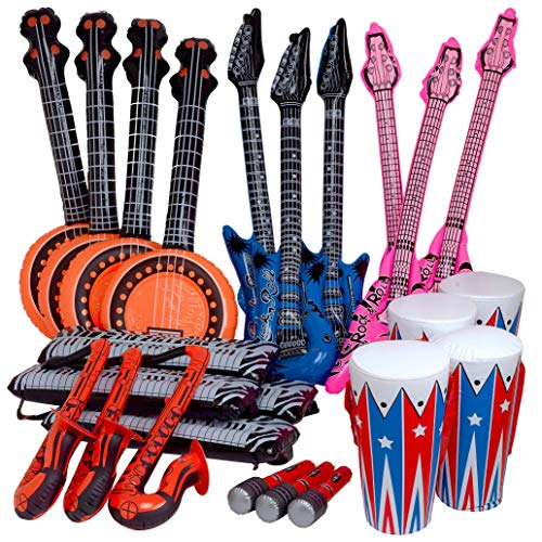 Rock Band Instrument Inflate Assortment - 24 Pack - Cool and Fun Inflatable Musical Instruments for Kids - Great Party Favor, Party Bag Stuffer,, Novelty Toys]()