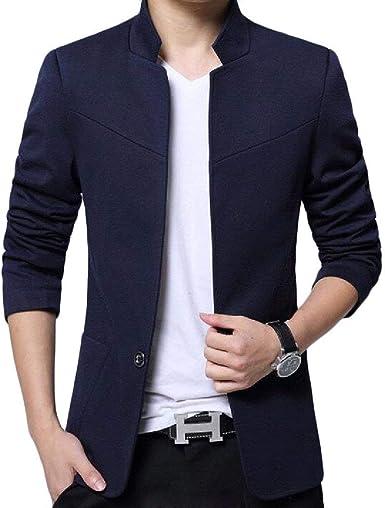 Chaqueta De Cuello Blazer para Hombre Chaqueta para Ropa De Boda Traje Slim Fit Chaqueta De Hombre con Estilo 1 Botón Camisa De Manga Larga para Hombre Casual Moda para Hombres: Amazon.es: