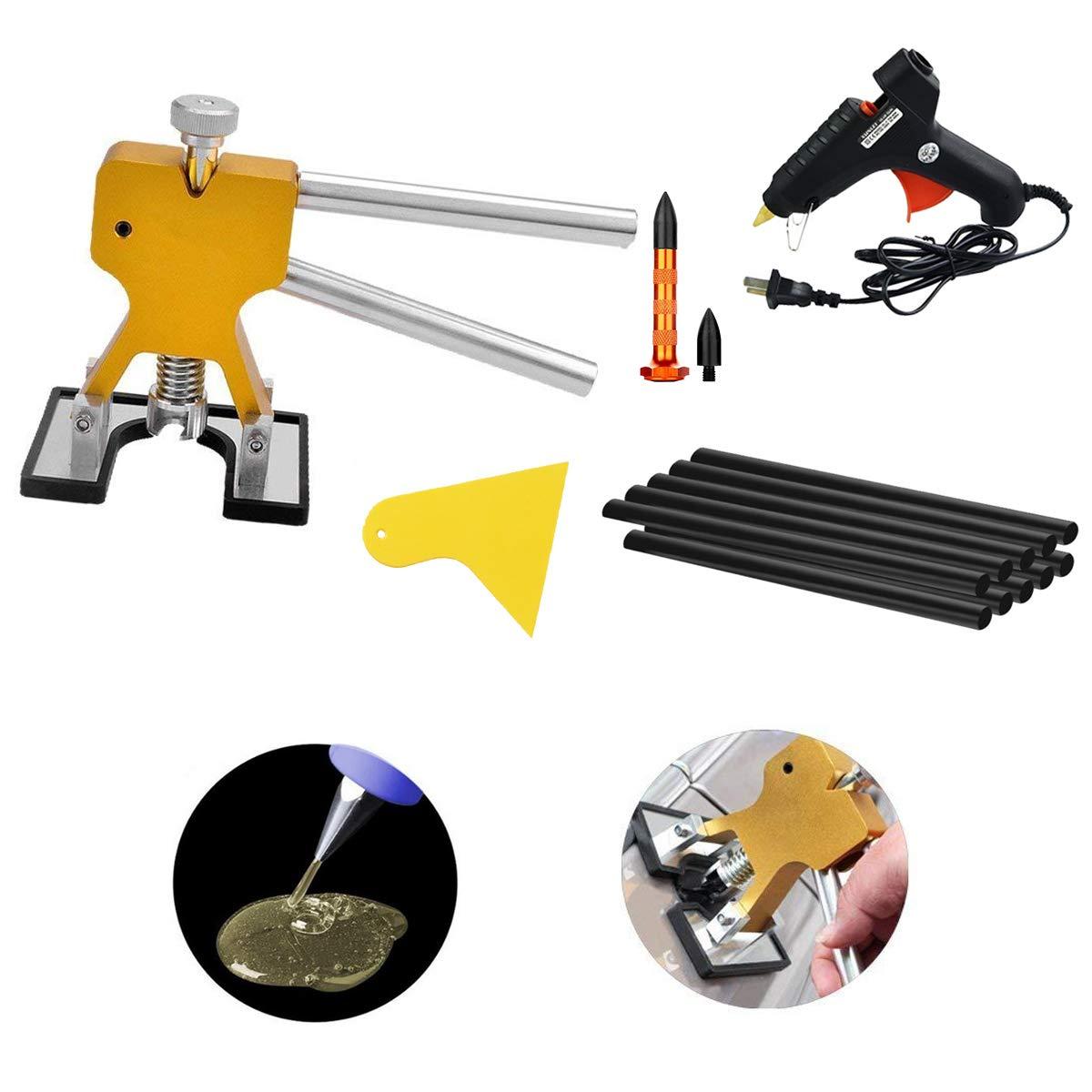 MMPP PDR Tools Golden Dent Lifter Dent Remover Paintless Dent Repair Tools Kit PDR Puller Kits with Hot Glue Gun Glue Sticks Scraper Tap Down Tools …