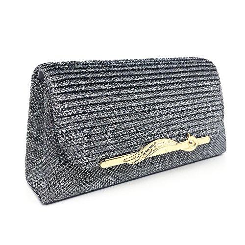 Clutch Glitter Wedding Grey Handbag Party Evening Luxury Purse Bag Women agWfnPT