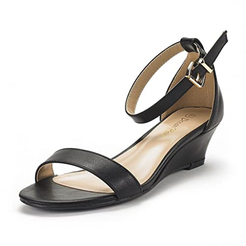 c2b38c97d9a31 DREAM PAIRS Women's Ingrid Black Pu Ankle Strap Low Wedge Sandals Size 5 ...