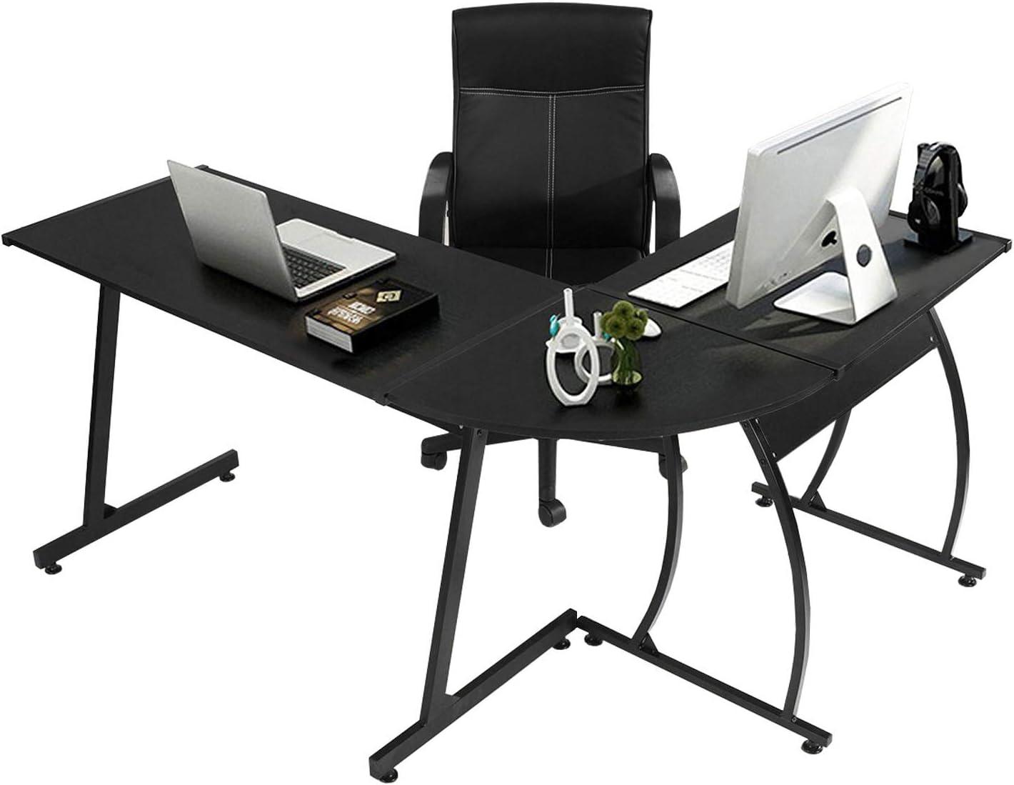 GreenForest L-Shaped Corner Desk Computer Gaming Desk PC Table
