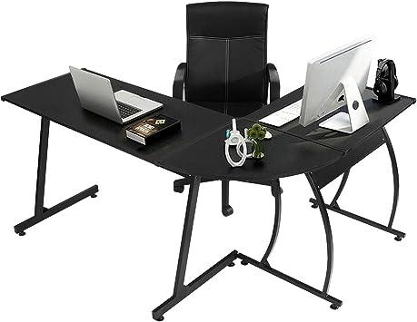 Amazon.com: GreenForest L-Shaped Corner Desk Computer Gaming Desk PC  Table,Home Office Writing Workstation 3-Piece,Black: Kitchen & Dining