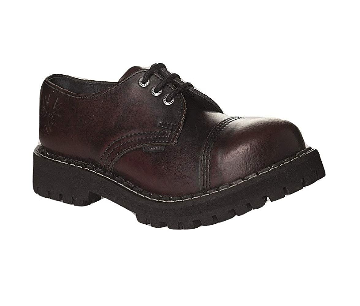 Steel Militärische Schuhe Unisex Herren Damen Leder Rot Bordeaux 3 Ösen Army Punk Stahlkappe