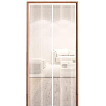 White Magnetic Screen Door Hands Free Screen Door for Keeping Out Flies Mesh Curtain Fits Doors Up to 35 x 82-Inch