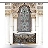 vanfan-Cool Shower Curtains The Unique Of Islamic Moroccan Architecture Traditional Design Polyester Bathroom Shower Curtain Set With Hooks(70 x 84 inches)
