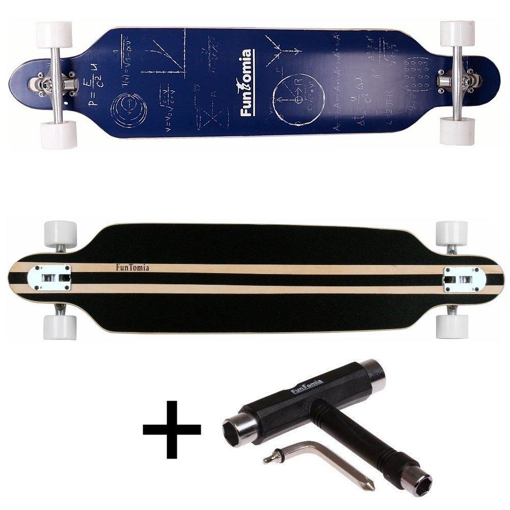FunTomia/® Freerider Longboard monopat/ín 107cm x 26cm rodamientos Mach1/® Hecho con Madera de arce de bamb/ú