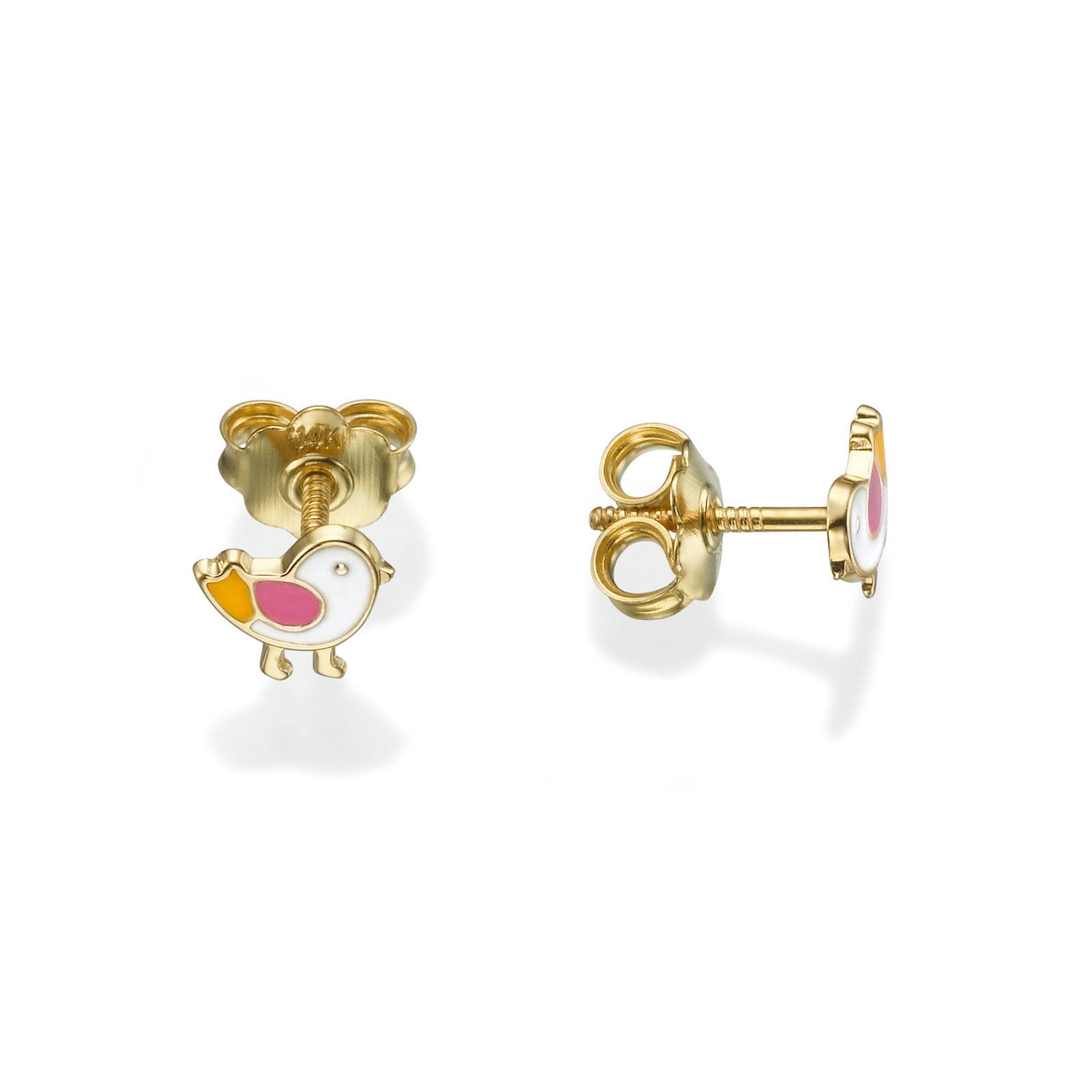 14K Fine Yellow Gold Enamel Chick Screw Back Stud Earrings for Baby Girls Kids Children Gift by youme Gold Jewelry (Image #3)