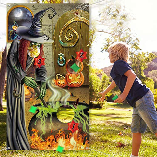 Halloween Party Decoration Supplies, Witch Game Banner Witch Toss Games with 3 Bean Bag, Fun Witch Game for Kids and Adults in Halloween Party, Witch Birthday Party Supplies