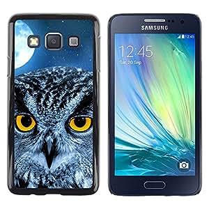 TopCaseStore / la caja del caucho duro de la cubierta de protección de la piel - Owl Moon Night Eyes Bird Smart School - Samsung Galaxy A3 SM-A300