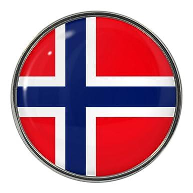 Amazon.com: Diseño de bandera de Noruega Pin Insignia: Clothing